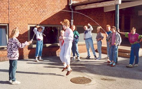 Frikvarter på Hedelyskolen engang i 1980'erne.