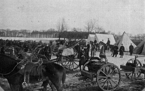 4. artilleriafdeling fra Sikringsstyrken ved teltplads