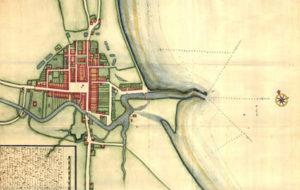 Køge grundlægges omkring 1288 og gadenetteter stort ser intakt den dag i dag. Kortet er dog meget senere. Det er søkortdirektør og spion Jens Sørensens kort fra 1693