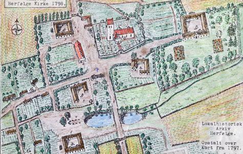 Håndtegnet kort over Herfølge fra 1797