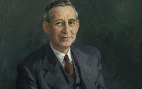 Gustav Theilgaard (1902-1977), søn af Albert Theilgaard, var direktør på Gummifabrikken i mange år, ind til 1986. Maleriet er af H.C. Bärenholdt, 1952.