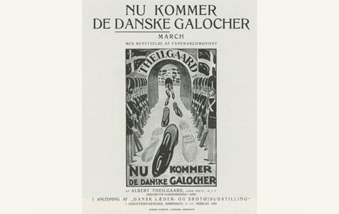 Albert Theilgaards reklamer var ofte meget sjove. Her er en sang om de danske galoshers fremmarch fra 1923