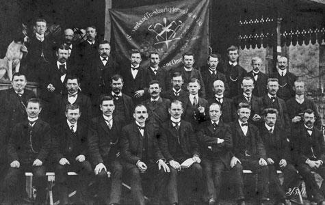 Medlemmer af Savværks- og Træskoarbejdernes Fagforening i 1911