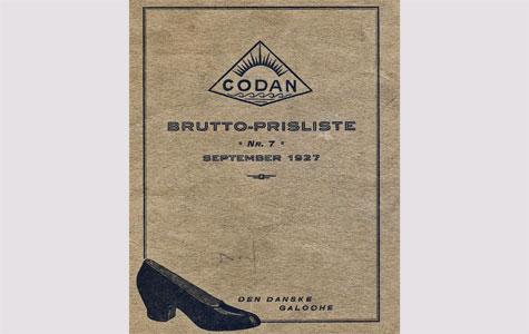Den danske galoche af mærket Codan. Prisliste fra Dansk Galoche- og Gummifabrik, 1927