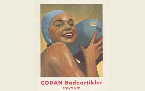 Reklame for Codan Badeartikler, 1940. Det var bl.a. badehætter og badebolde.