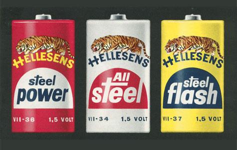 Hellesens Fabrikker på Tigervej (1965-1991) fremstillede batterier. Fabrikkens logo var en tiger.