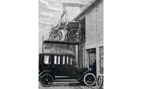 Reklame for Køge ny Vognfabrik, Torvet 5, Postkort fra 1917