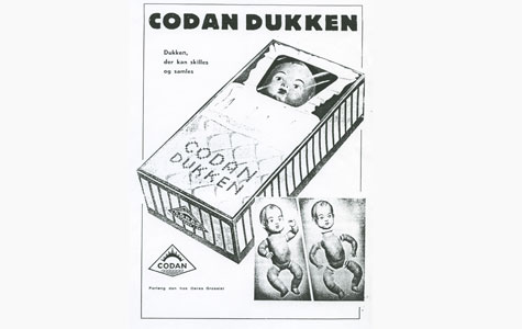 Dansk Galoche- og Gummifabrik lavede dukker af gummi, Codan Dukken.