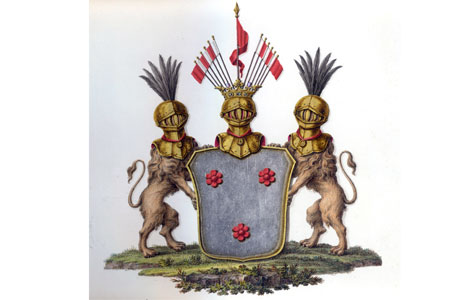 Våbenskjold - Gammelkjøgegaard blev ophøjet til stamhus for slægten Carlsen-Lange i 1845, som et af de sidste inden grundloven i 1849 forbød oprettelse af len, baronier og stamhuse.