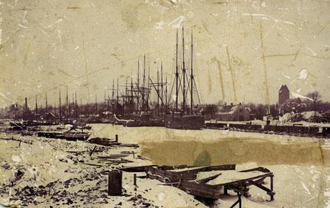 Køge Havn i slutningen af vinteren 1800.
