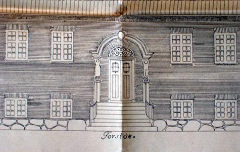 Arkitekttegning af døren på Tøxens Skole