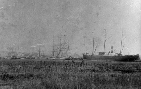 Sejl- og dampskibe i Køge Havn.
