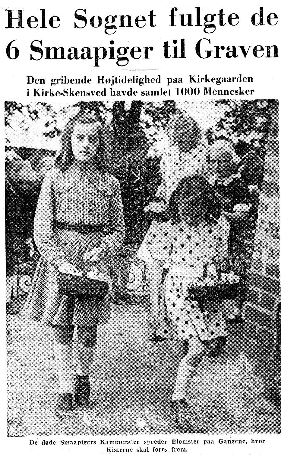 Fra avisartikel fra Roskilde Tidende, der omhandler pigernes bisættelse.