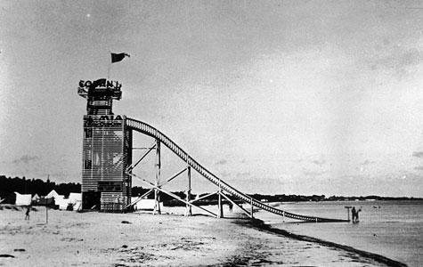 Rutchebane ved Tryllevælde Badehotel, foto fra 1937