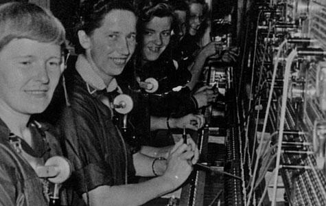Telefondamer i Havdrupp Telefoncentral ca 1967.