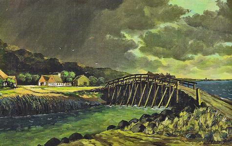 Postvognen kører over Prambroen, mod Køge ca 1825.