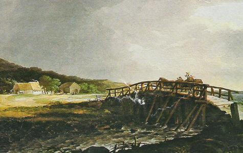 Prambroen ved Strøby Egede. Postvognen mod Køge kører over broen.