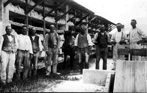 Arbejdsmænd på kllinten i Holtug. Arbejdet ved klinten var tungt og risikabelt.