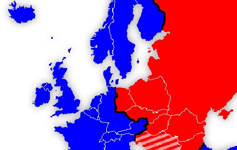På kortet kan du se Europa. De blå lande var en del af vest. De røde lande var en del af øst.