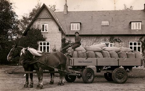 Hestevogn med kornsække, omkring 1940.