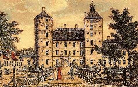 Vallø Slot i 1838.