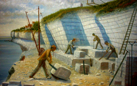 Maleri af stenhuggere på arbejde.