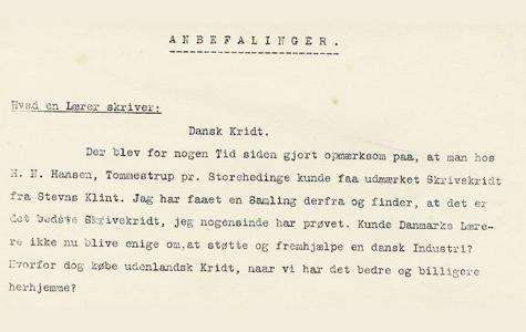 Fra 1930'erne findes denne anbefaling af skolekridt fra Stevns. Kridtet har næsten ingen urenheder og er meget ensartet i sin finhed.