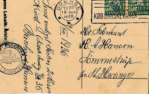 Bestilling af skolekridt. Bestillingen lyder: 9/12 1936 - Send venligst Skolen 2 Kasser Kridt - Sidste sending 9/11 '35 - Bernhard Hansen